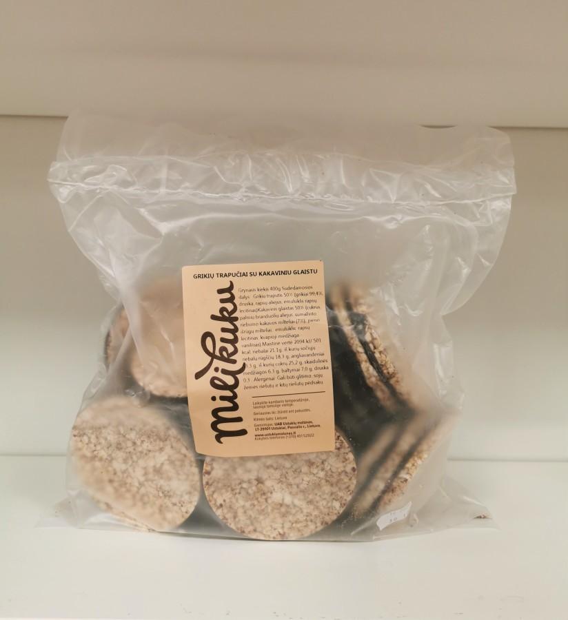 Grikių trapučiai su kakaviniu glaistu, 0,4kg