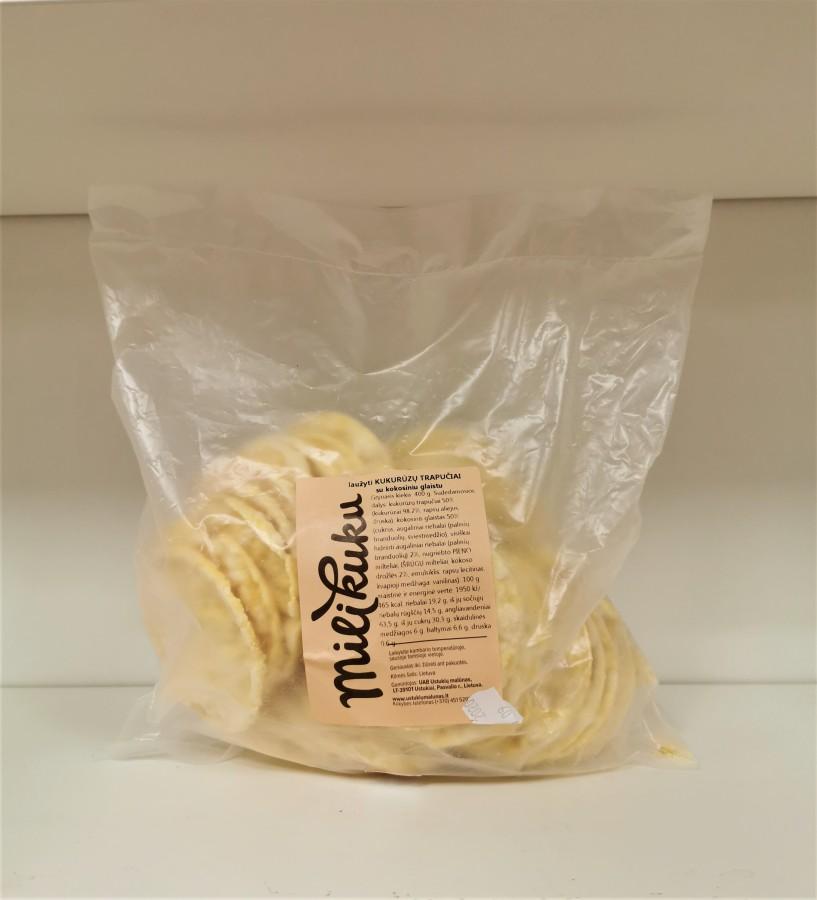 Laužyti kukurūzų trapučiai su kokosiniu glaistu, 0,4kg