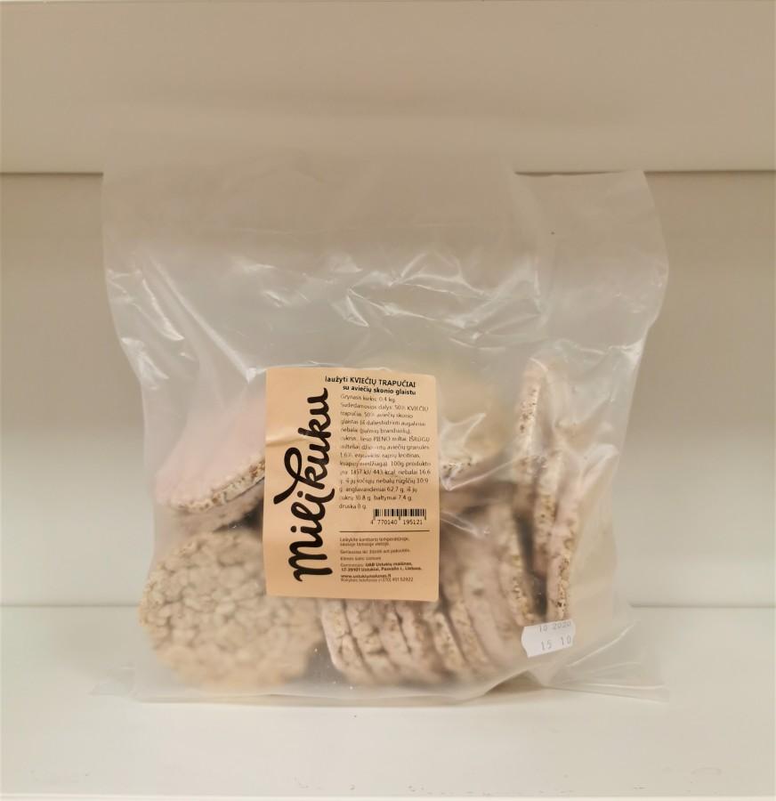 Laužyti kviečių trapučiai su aviečių skonio glaistu, 0,4kg